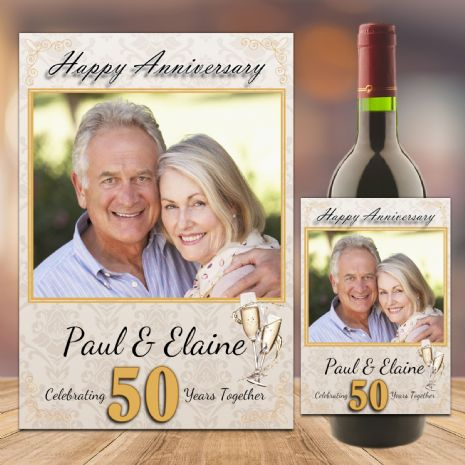 Personalised Golden 50th Wedding Anniversary Wine / Champagne Bottle Label N101